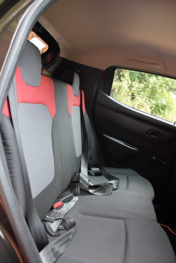 Kwid - Colourful Rear Seats, a tad flat & with basic seat belts