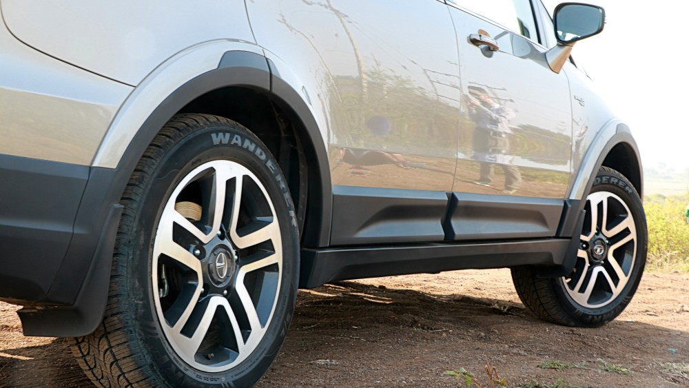 Alloy Wheels & MRF Wanderer Tyres - Bottom Rear Shot.JPG