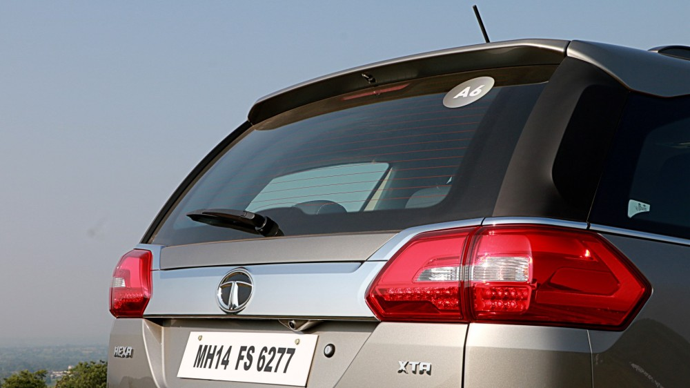 Rear 3Quarter View with Tail-lamps - Tata Hexa.JPG