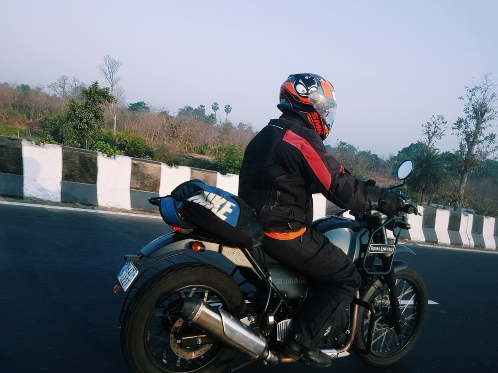 Black Royal Enfield Himalayan on the highway