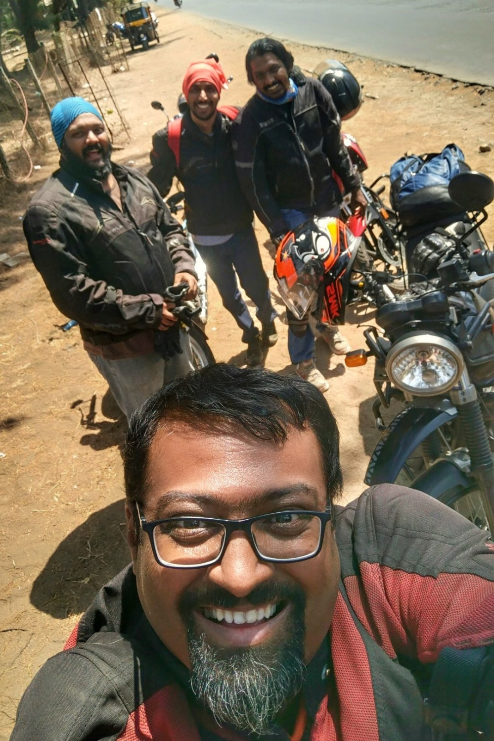 Happy motorcyclists' selfie